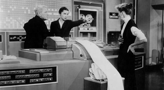 Spencer Tracy, left, Katharine Hepburn, right, and Neva Patterson.