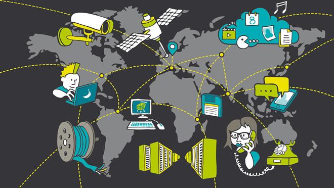 Im Hintergrund eine Weltkarte, im Vordergrund viele Geräte aus verschiedenen Netztechnologien © SDTB / Grafik: polygraphdesign.com