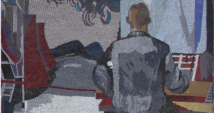 """Ausschnitt des Mosaiks von Fritz Eisel, """"Der Mensch bezwingt den Kosmos"""" Wissenschaftler vor technischen Bedienelementen"""